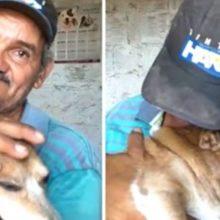 'Eu podia perder tudo, menos ele'; diz pedreiro ao encontrar seu cão após incêndio'
