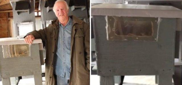 Aos 74 anos, ele constrói casas para que gatinhos sem teto não morram de frio nas ruas.