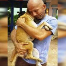 Esse cachorro não para de abraçar seu salvador depois que foi resgatado de matadouro