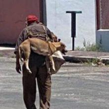 Idoso carrega cachorro nas suas costas para que ele não queime suas patas