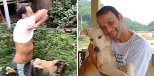 Ele Tira a Camisa para Salvar a Vida de um Cachorro Ferido que Resgatou na Rua