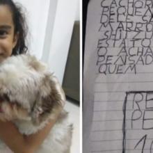 Menina escreve carta e oferece recompensa para quem achar o seu cachorro