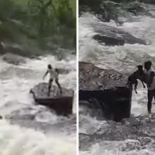Herói: O homem arriscou sua vida para resgatar um cachorro que havia sido levado pela correnteza. Salvou ele