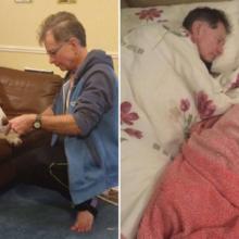 Homem Dorme no Sofá para Fazer Companhia a Seu Cachorro Idoso que Não Consegue Subir as Escadas