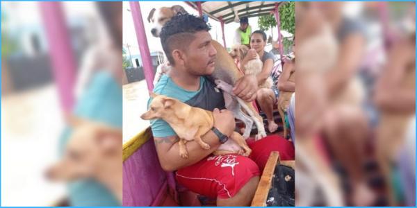 Família foge da enchente com seus cachorros nos braços. Eles também são da família.