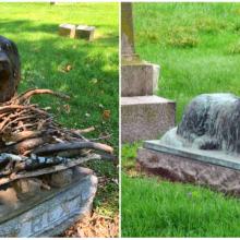 As pessoas estão deixando presente no túmulo deste cãozinho de 100 anos