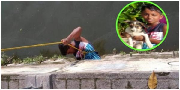 Menino arrisca sua vida para resgatar cachorrinho que estava preso em esgoto