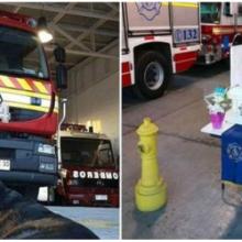 Os bombeiros prestam uma homenagem emocional a um cachorrinho que passou 14 anos com eles e cruzou o arco-íris