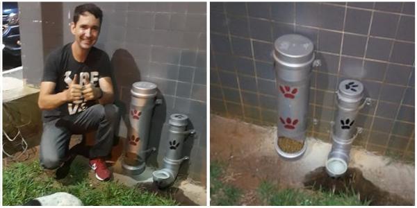 Rapaz transforma canos PVC em comedouro e bebedouro para animais de rua