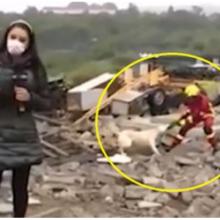 Cachorro é visto disputando pano com bombeiro durante reportagem ao vivo