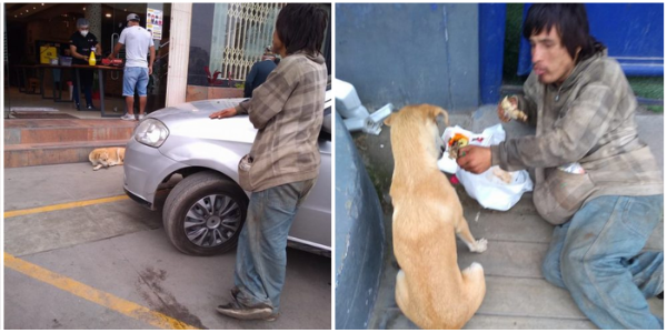 Eles capturam um morador de rua compartilhando com seu cachorro a pouca comida que conseguiu obter