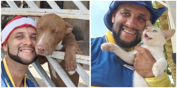 Este carteiro tira selfies com os animais com quem faz amizade em seu trajeto diário