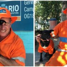 Cachorro adotado por um varredor o acompanha até o trabalho com um uniforme adorável