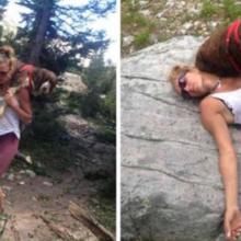 Mulher encontrou cachorro ferido em montanha e salva sua vida carregando-lhe nos ombros por 6 horas